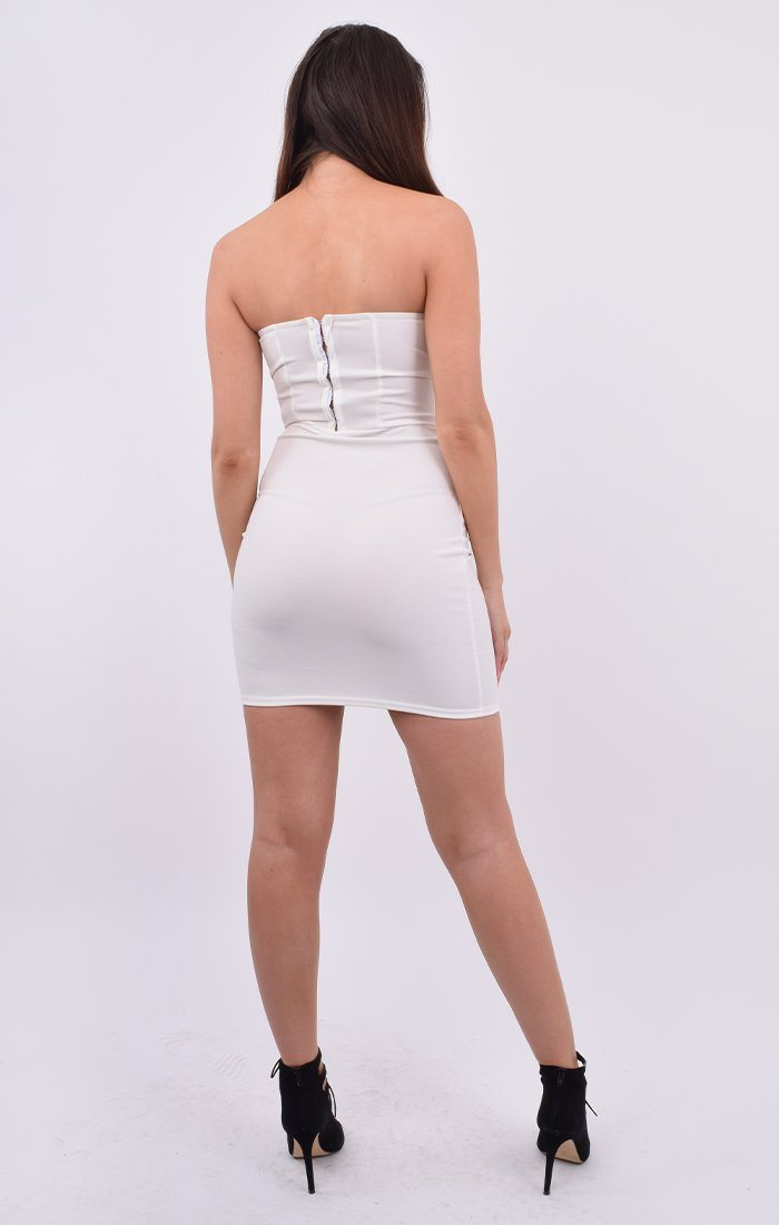 White Corset Strapless Mini Dress - Naina