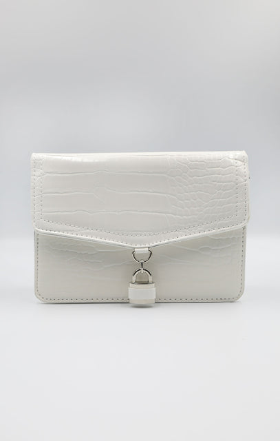 White Croc Print Padlock Crossbody Grab Bag - Palma