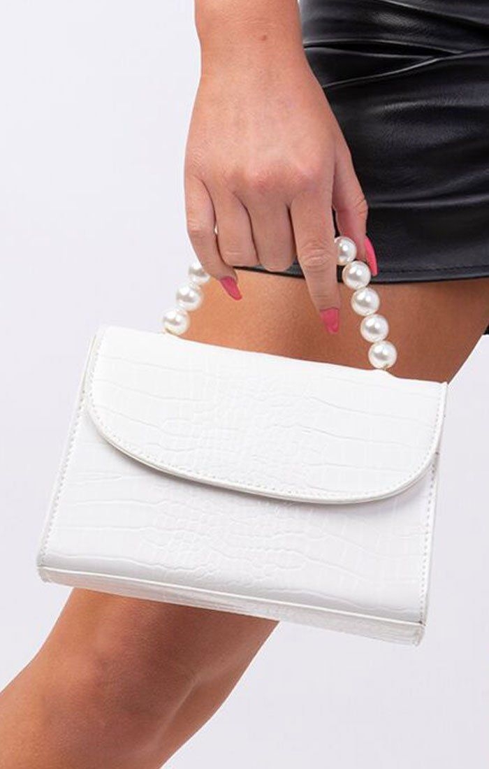 White Croc Print Pearl Handle Grab Bag - Brandon