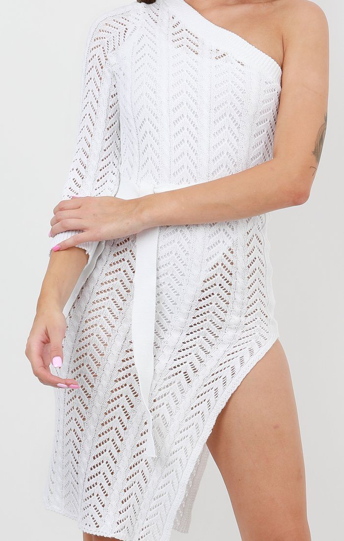 White Crochet One Shoulder Long Sleeve Dress - Nala