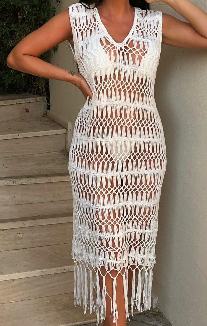White Crochet Tassel Midi Dress - Micha
