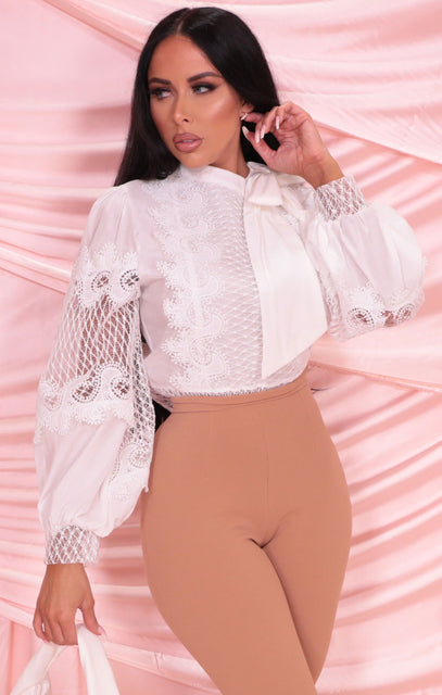 White Crochet Tie Back Long Sleeve Crop Top - Hayden