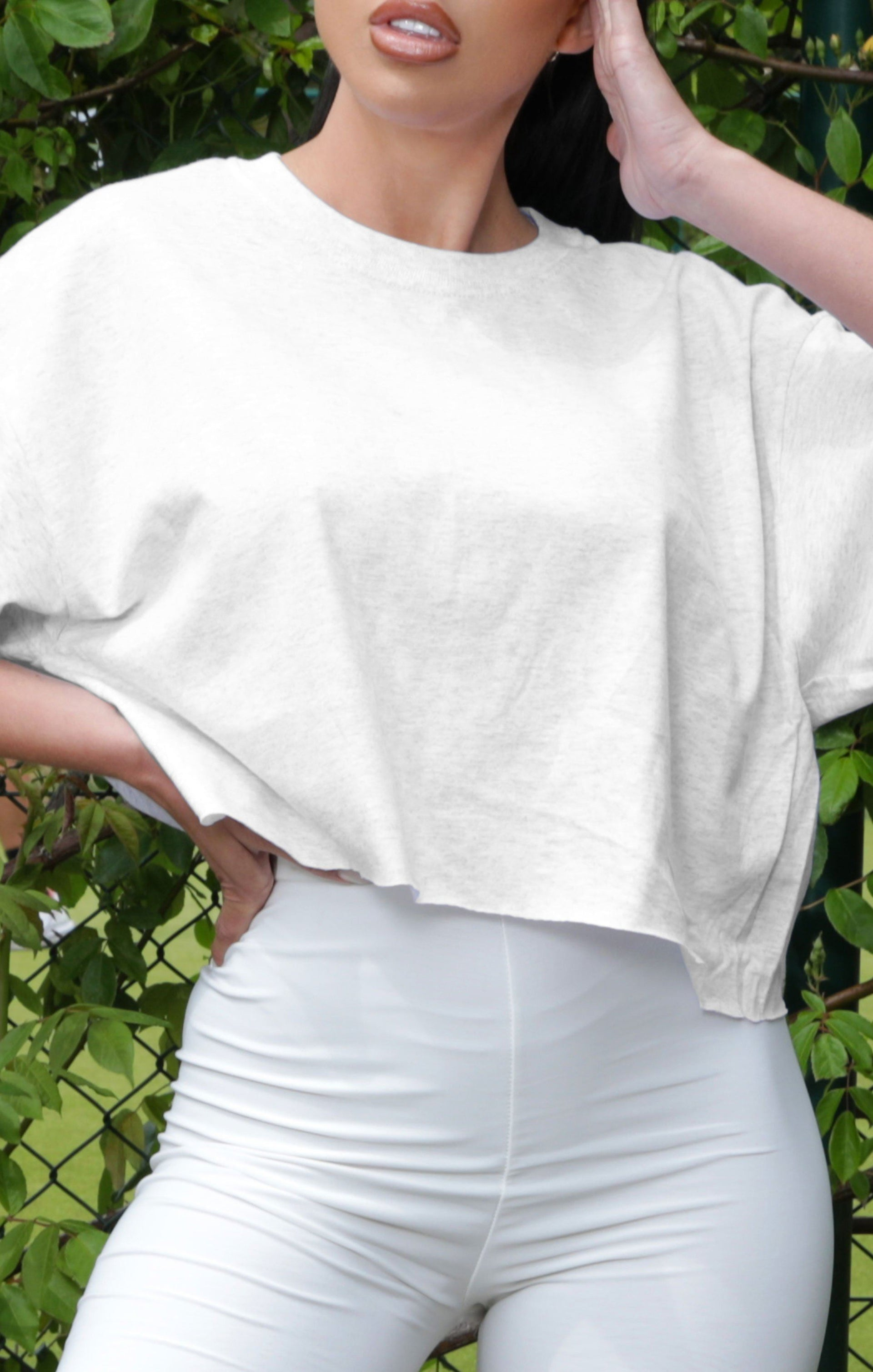 White Cropped Oversized T-Shirt - Riya