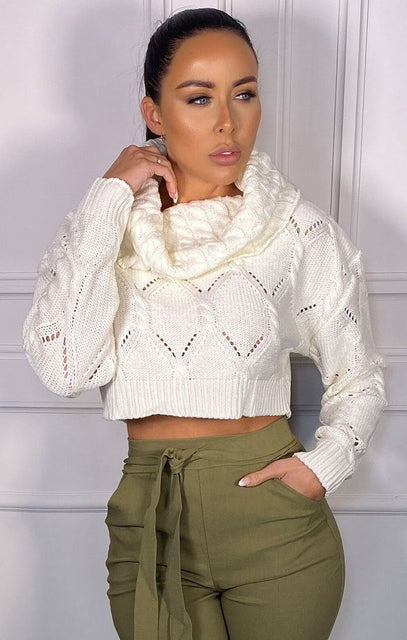 White Cropped Polo Neck Knitted Jumper - Abbi