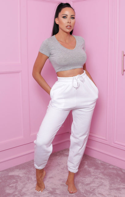 White Cuffed Casual Joggers - Paityn
