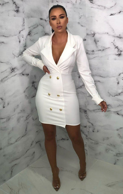 White Double Button Blazer Dress - Danna