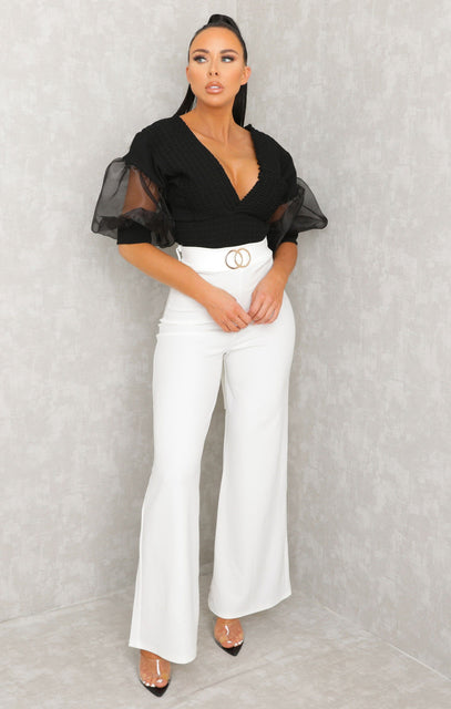 White Double Circle Belt Flare Leg Trousers - Priya
