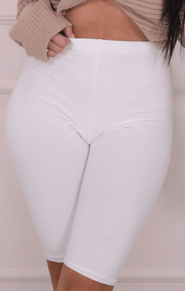 White Double Slinky Cropped Cycling Shorts - Valencia