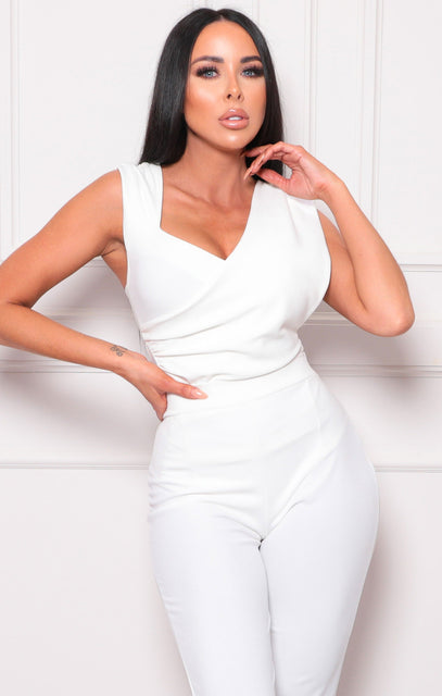 White Drape Wrap Side Bodysuit - Lynn