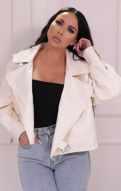 White Faux Leather Oversized Jacket - Bella