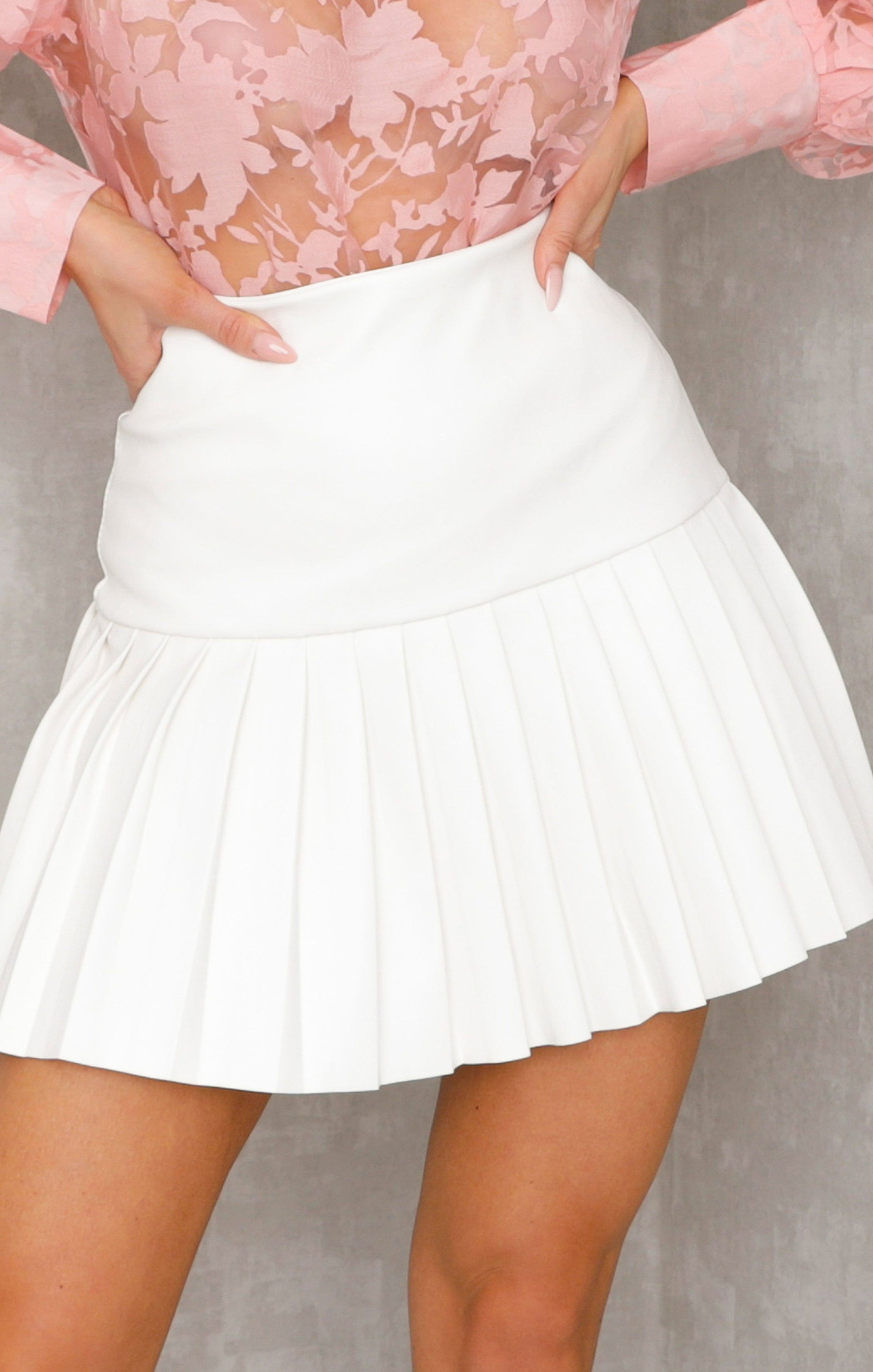 White Faux Leather Pleated Skirt - Shiva