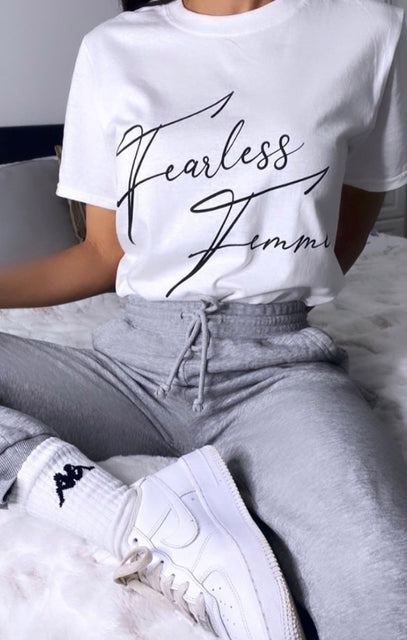 White 'Fearless Femme' Oversized T-Shirt - Lily