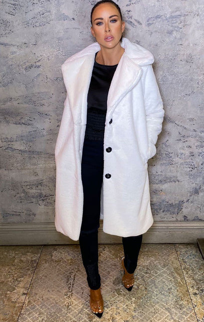 White Fluffy Faux Fur Long Line Coat - Marzie