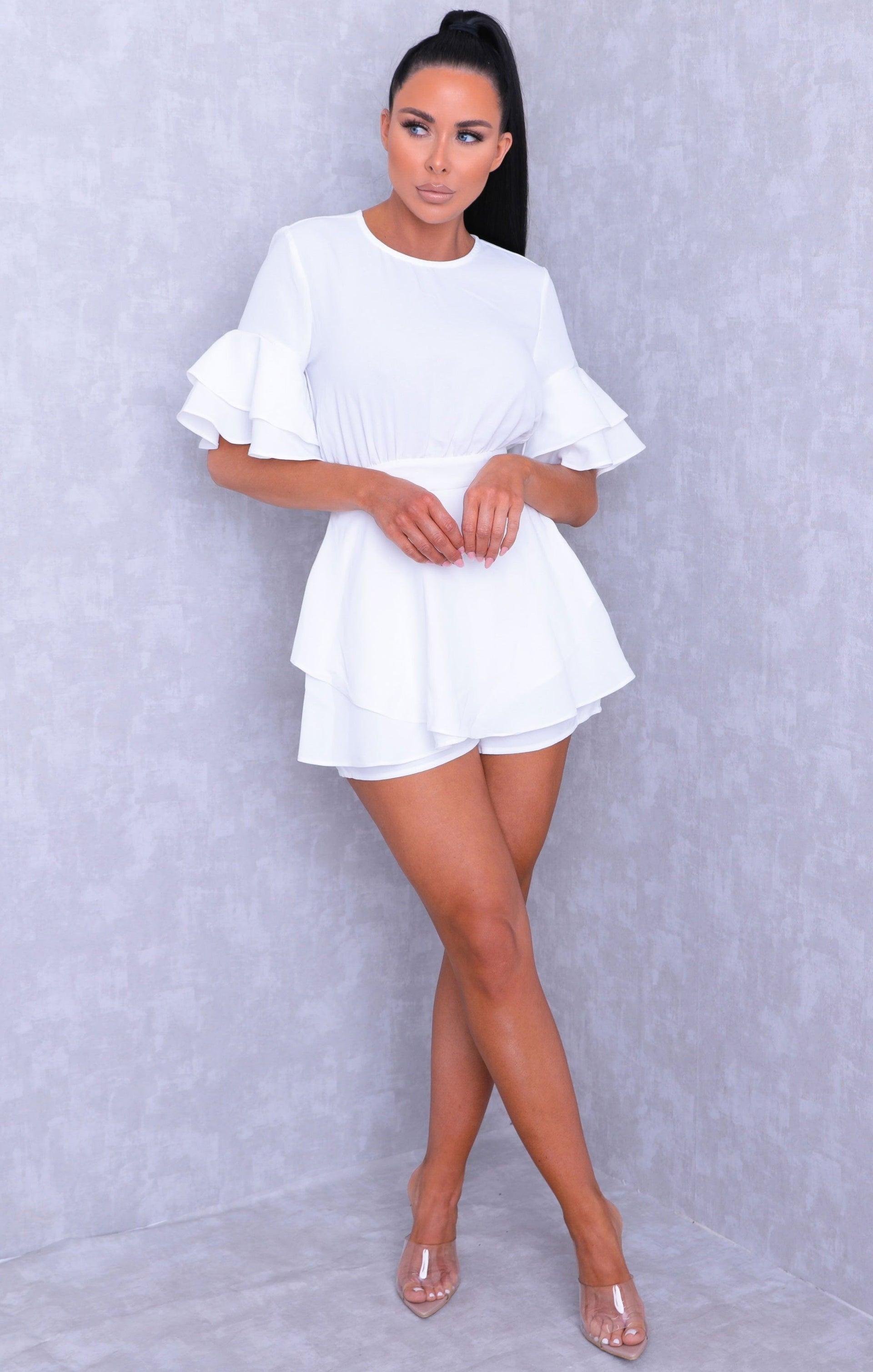 White Frill Sleeve Open Back Skort Playsuit - Tammy