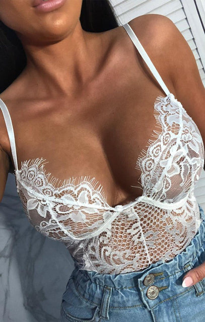 White Full Lace Underwire Bodysuit - Lillie