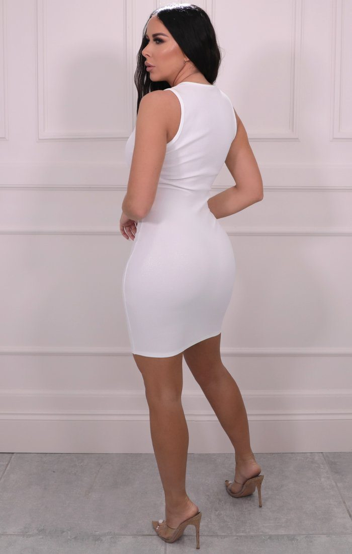 White Glitter Sleeveless Bodycon Mini Dress - India