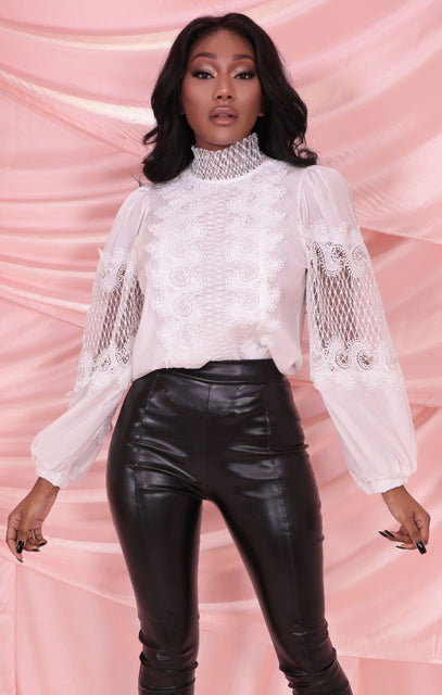 White High Neck Lace Crochet Long Sleeve Top - Clancy