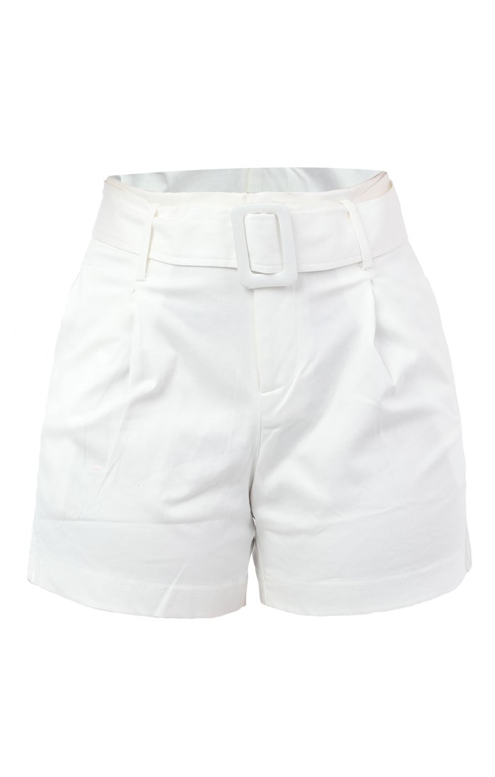 White High Waisted Belted Shorts - Edith