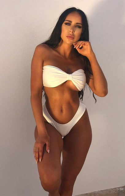 White High Waisted Brief Bikini Bottoms - Ruth