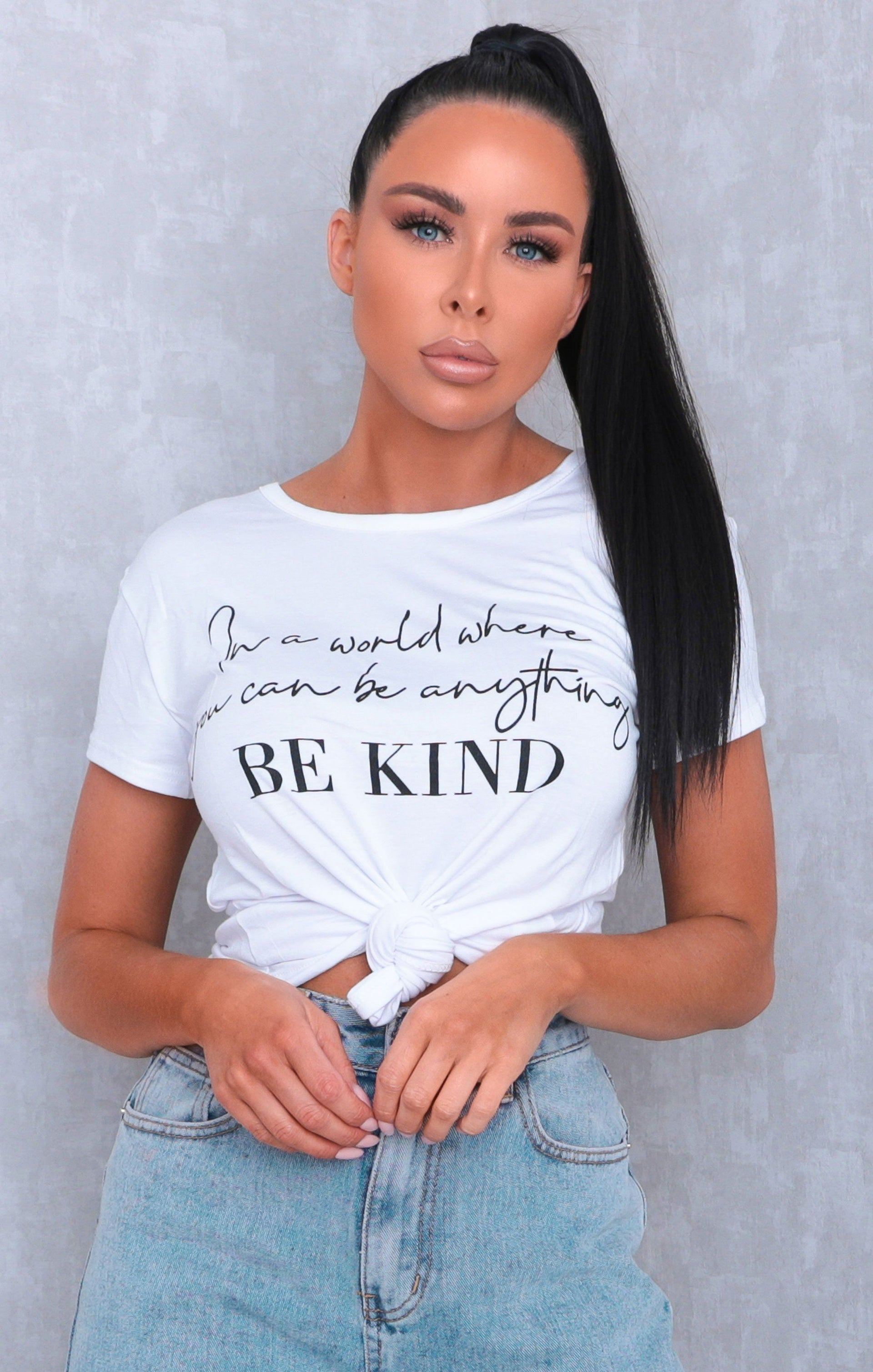 White 'In A World Where You Can Be Anything Be Kind' Print Crew Neck T-Shirt - Cordelia