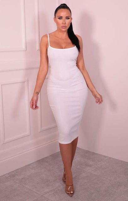 White Iridescent Gold Strappy Bodycon Midi Dress - Vanessa