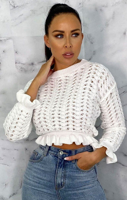 White Knit Ruffle Hem Cropped Jumper - Belva