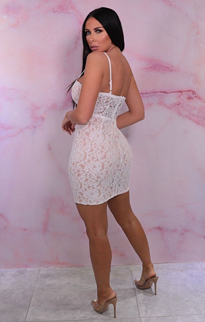 White Lace Crochet Cupped Strappy Bodycon Mini Dress - Lucy