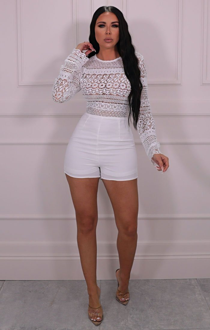 White Lace Crochet Long Sleeve Playsuit - Harper