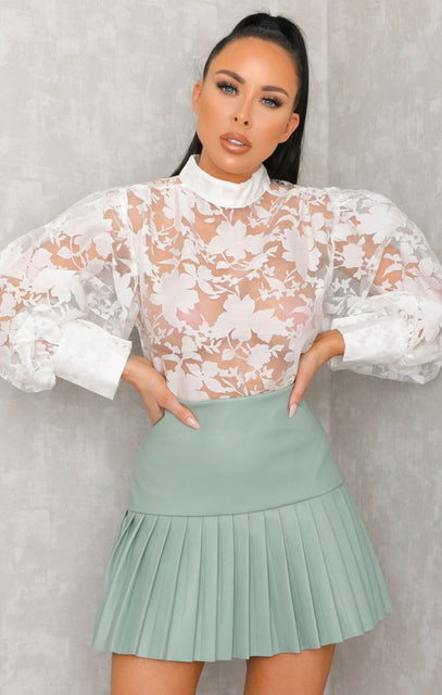 White Lace Floral High Neck Cuffed Mesh Organza Top - Sammy
