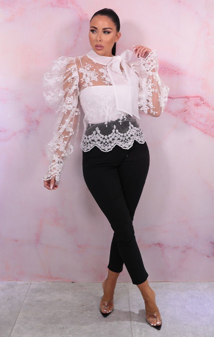 White Lace Puff Sleeves High Neck Top - Lola
