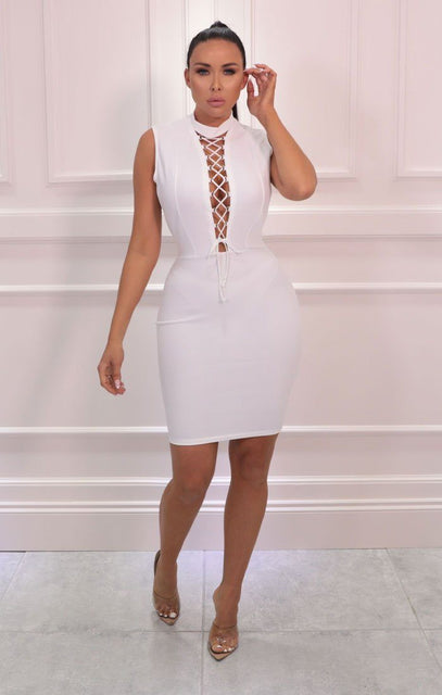 White Lace Up Front High Neck Bodycon Mini Dress - Clover