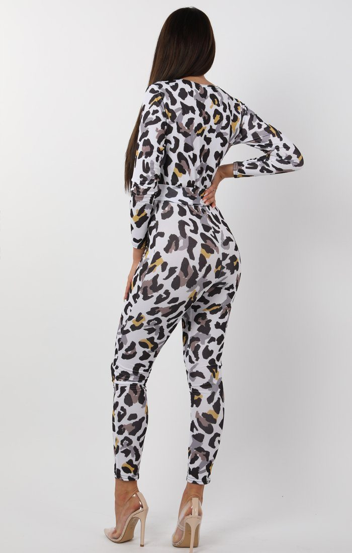 white leopard print belted jumpsuit - anita