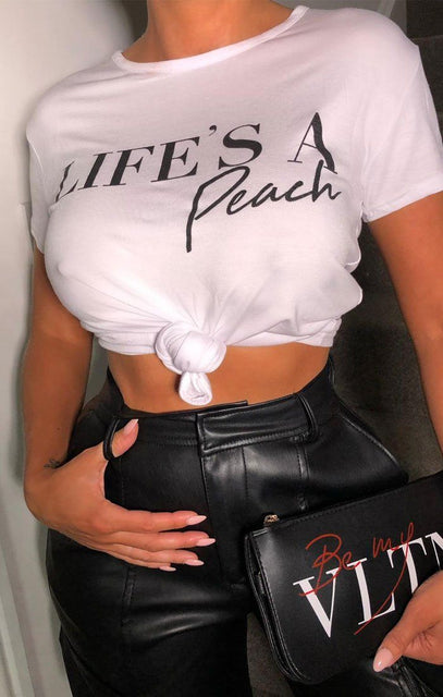 White 'Life's a Peach' Slogan Crop Top - Tinley