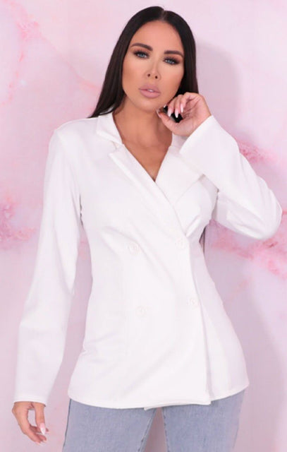 White Long Sleeve Double Breasted Blazer - Jennifer