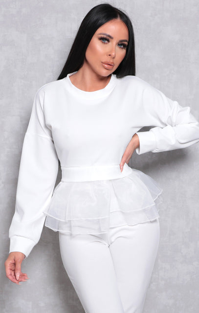 White Long Sleeve Organza Ruffle Hem Top - Beno