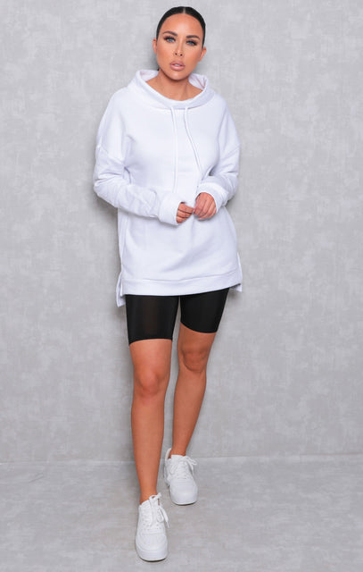 White Long Sleeve Side Split Drop Hem Hoodie - Upton