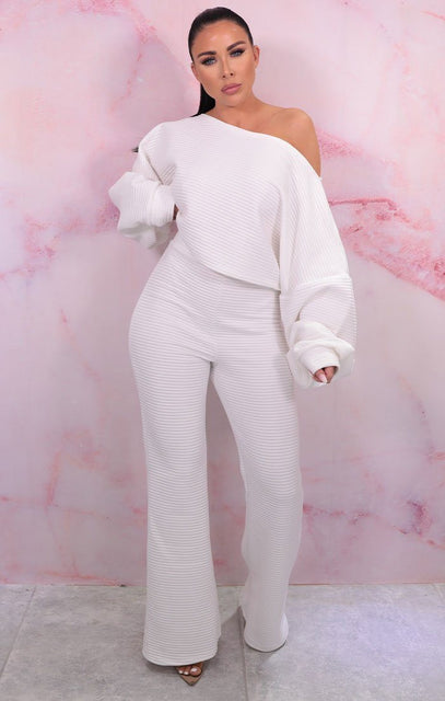 White Luxe Soft Ribbed Wide Leg Loungewear Set - Paris