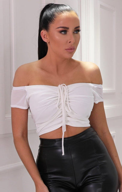 White Mesh Bardot Ruched Front Crop Top - Elodie