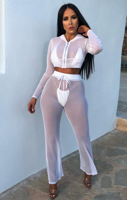 White Mesh Cropped Hoodie Co-Ord - Kendra