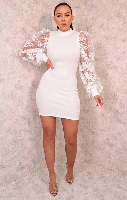 White Mesh Floral Sleeve Bodycon Mini Dress - Kellen
