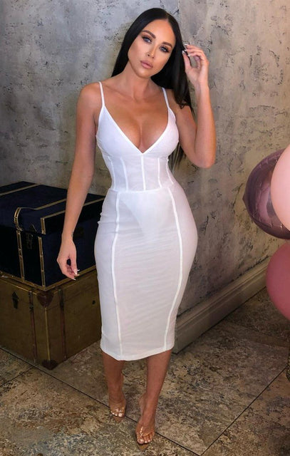 White Mesh Ribbed Midi Dress - Carmen