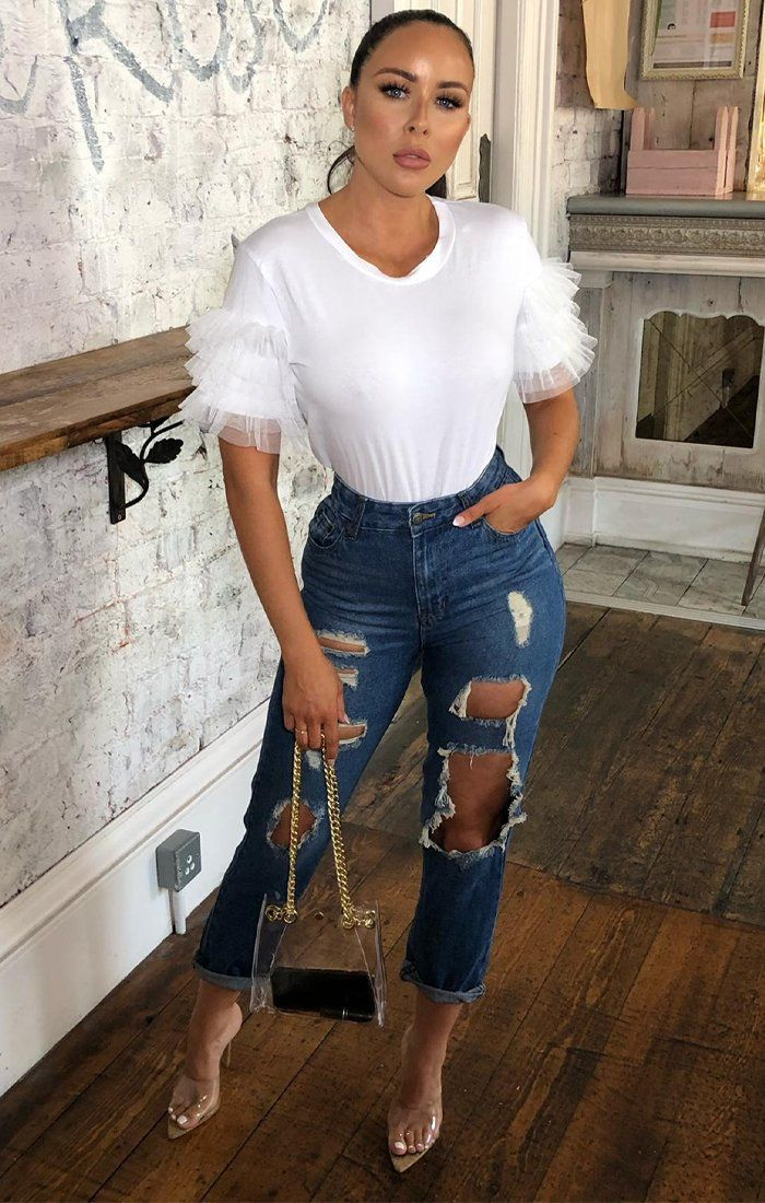 White Mesh Ruffle Sleeve T-Shirt - Laura