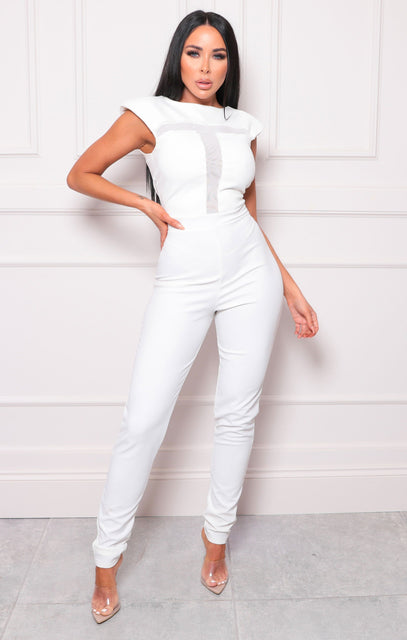 White Mesh Shoulder Pads Jumpsuit - Alba
