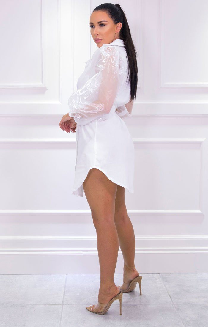 White Mesh Sleeve Shirt Dress - Hill