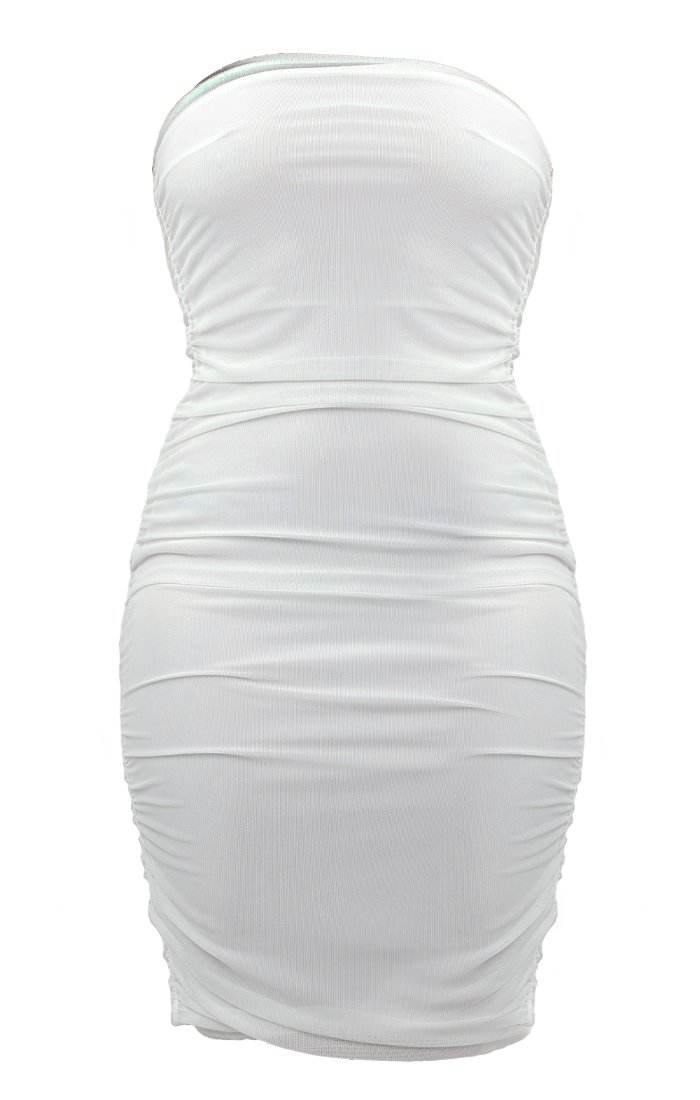 White Mesh Strapless Mini Dress - Kenzie