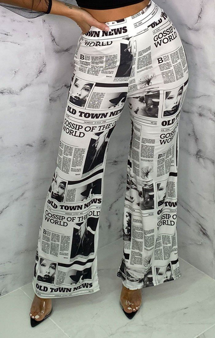 White Newspaper Print Slinky Wide Leg Trousers - Storm