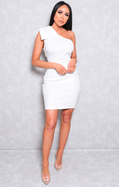 White One Shoulder Bow Bodycon Mini Dress - Abel