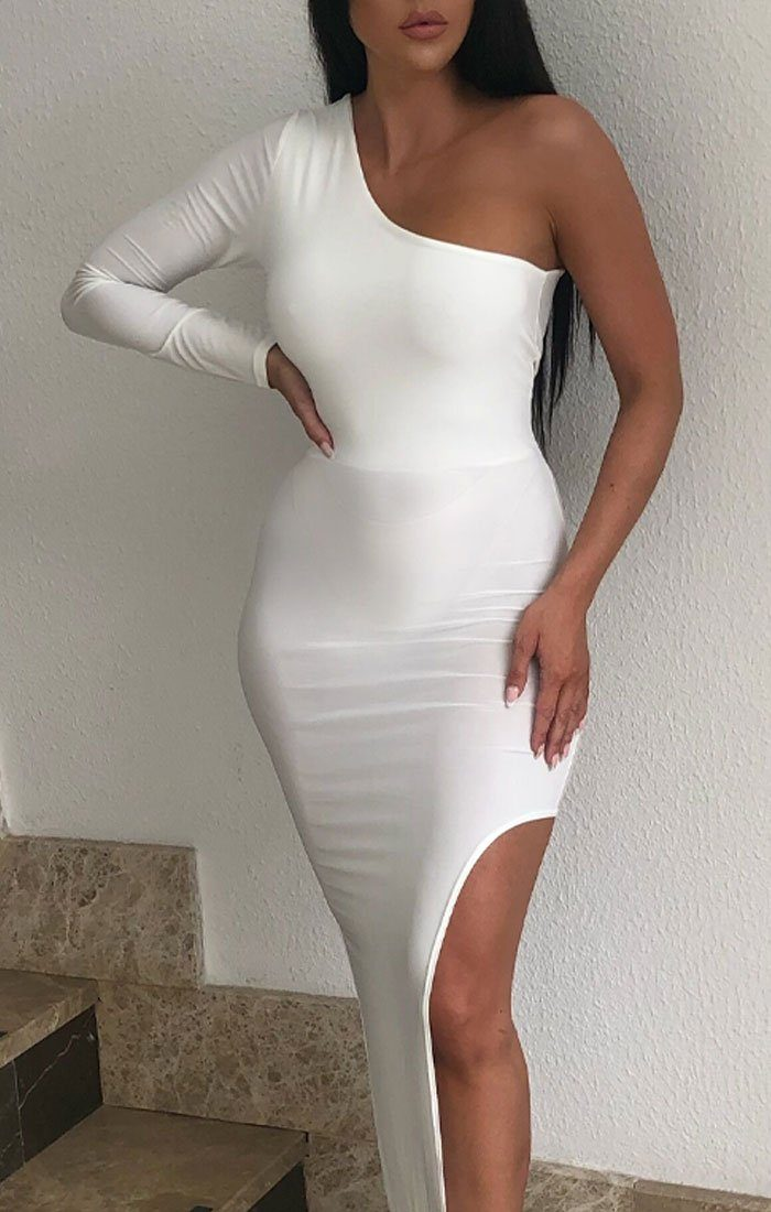White One Shoulder Extreme Split Maxi Dress - Celine