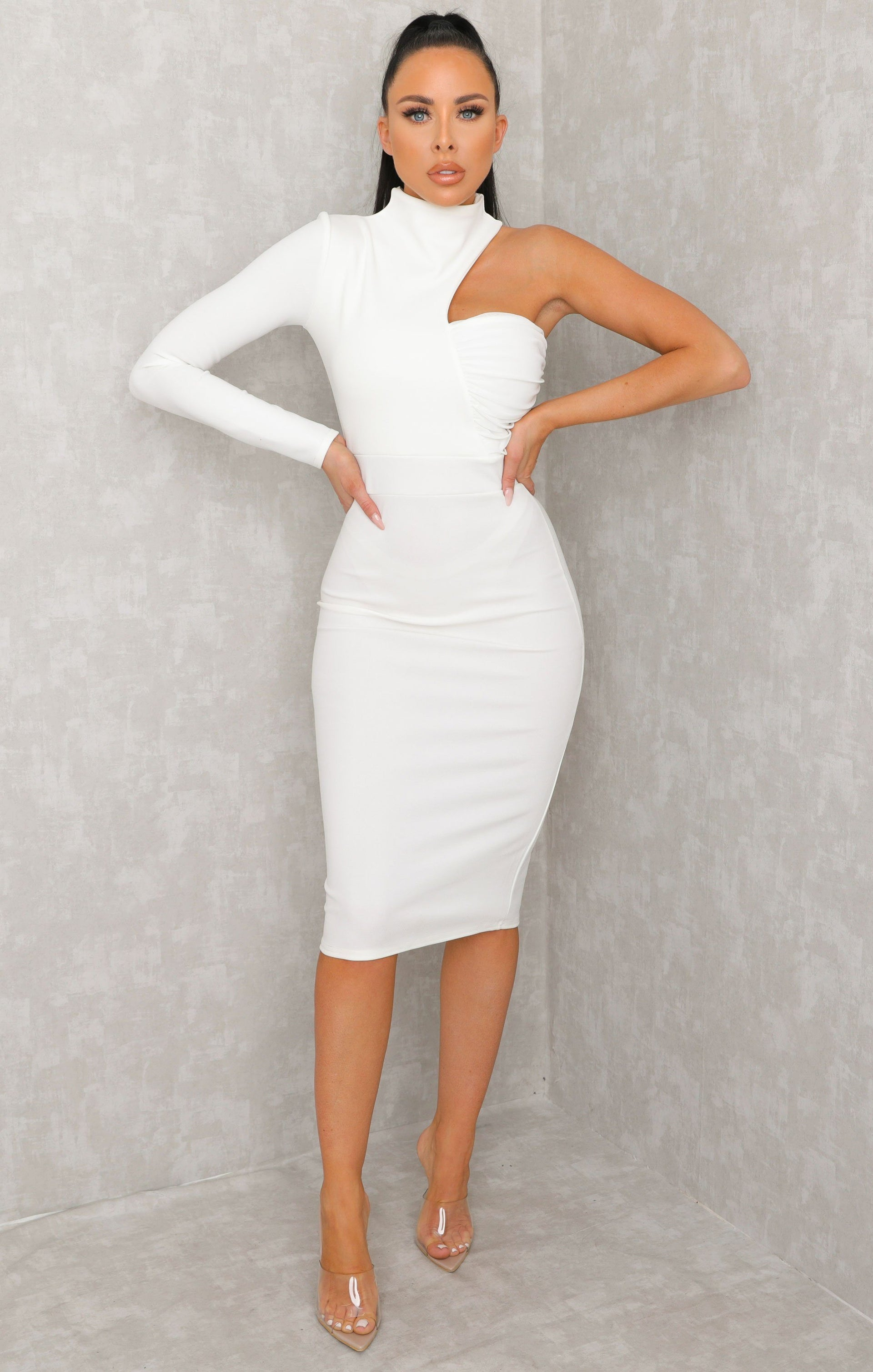 White One Shoulder High Neck Bodycon Midi Dress - Sabrina