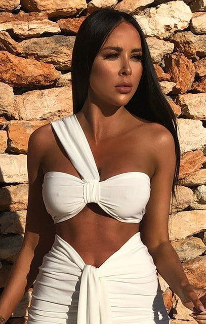 White One Shoulder Knot Bralette Top - Julie